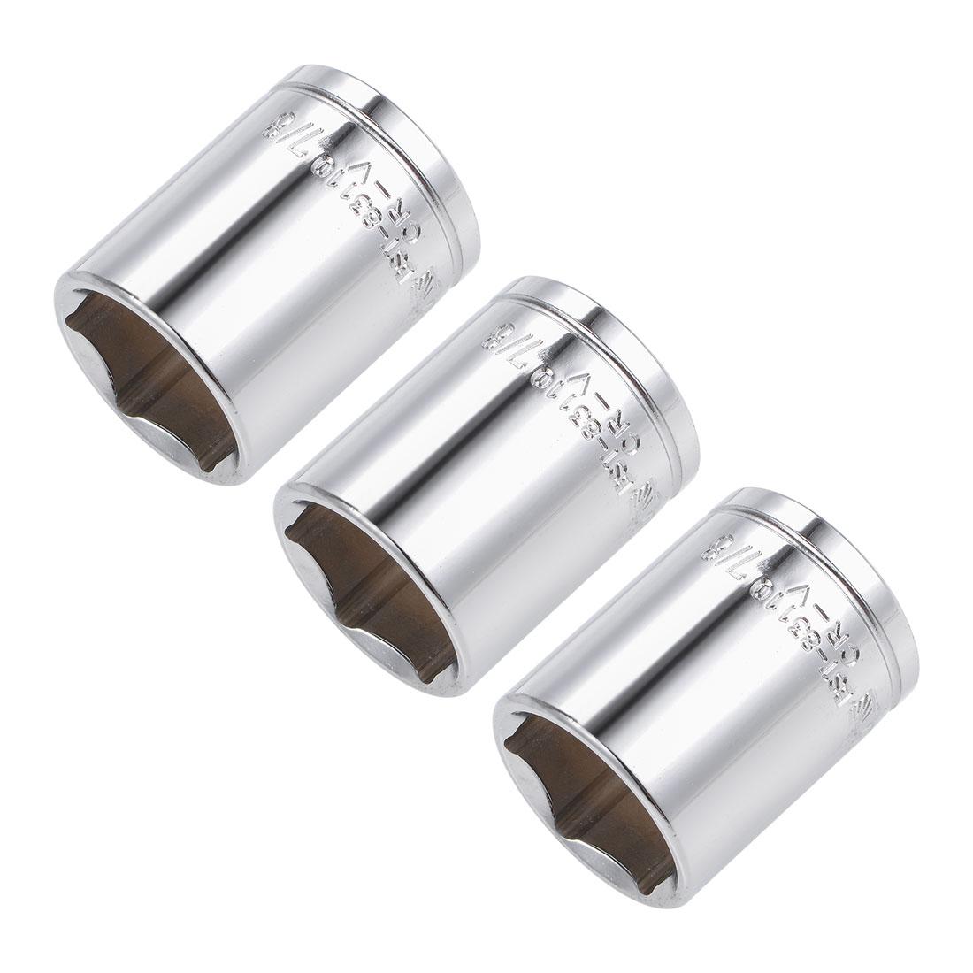 3 Pcs 1/2-inch Drive 7/8-inch 6-Point Shallow Socket, Cr-V