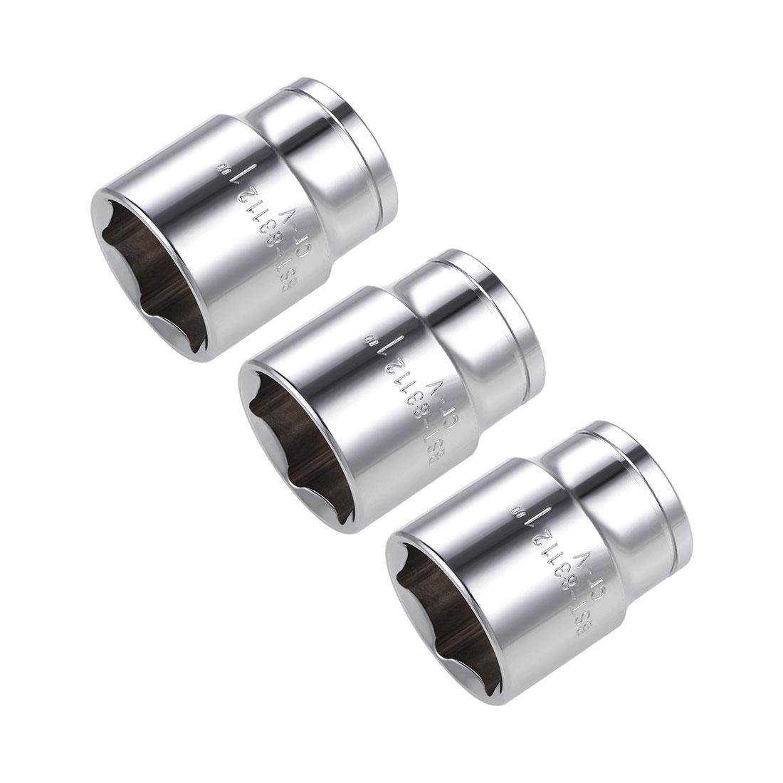 3 Pcs 1/2-inch Drive 1-inch 6-Point Shallow Socket, Cr-V
