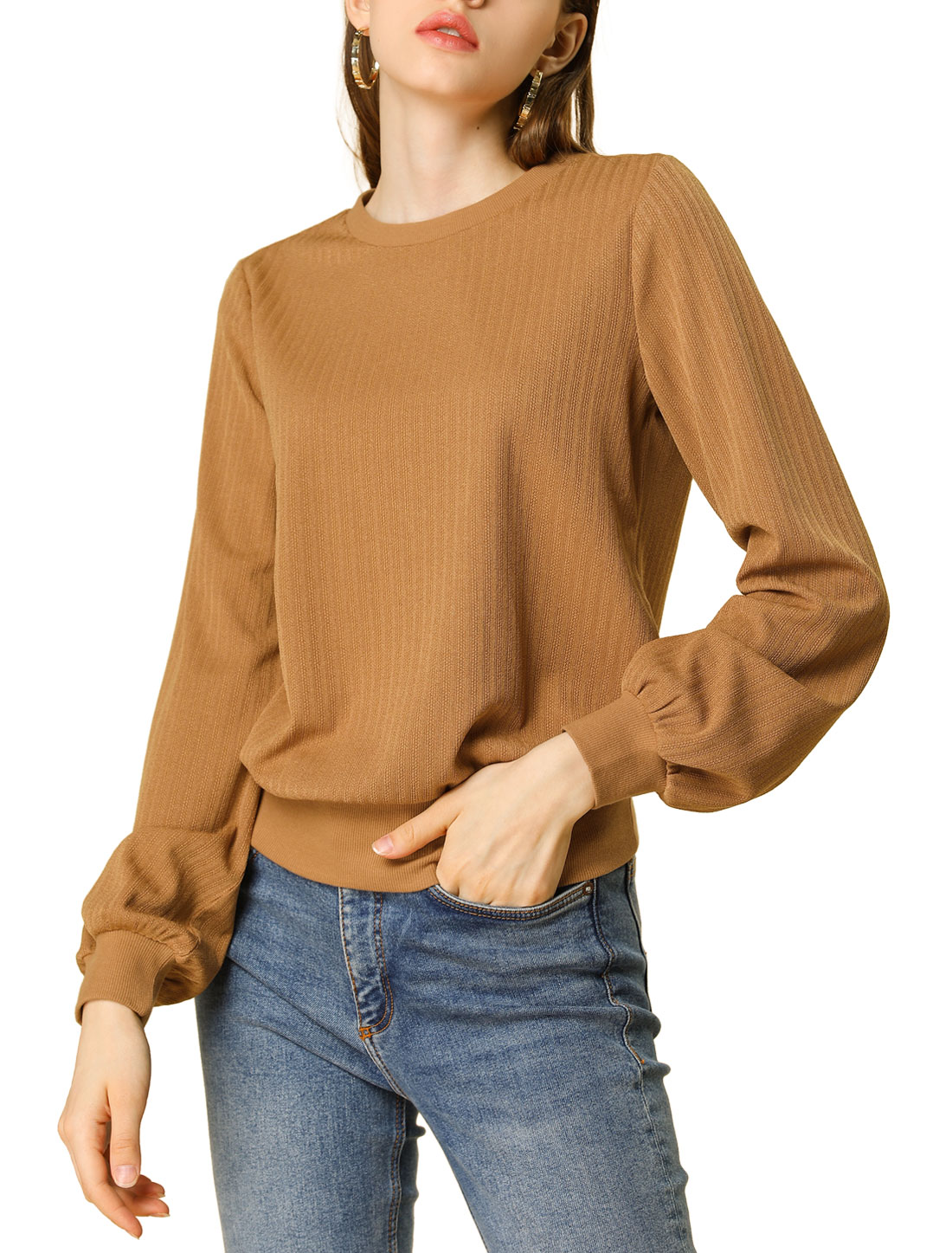 Allegra K Women's Classic Lantern Sleeves Blouson Ribbed Top Sweater Brown M
