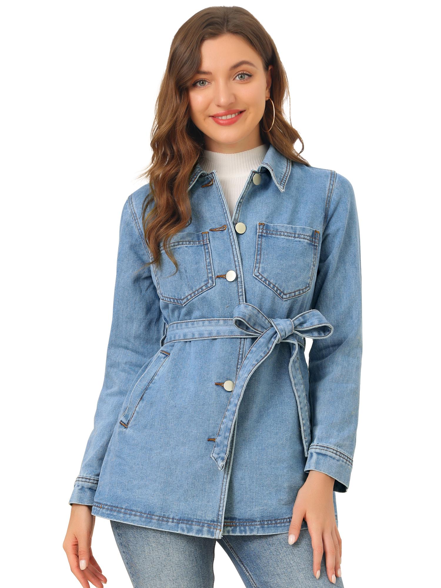 Allegra K Woman's Boyfriend Tie Waist Loose Denim Jacket Blue L