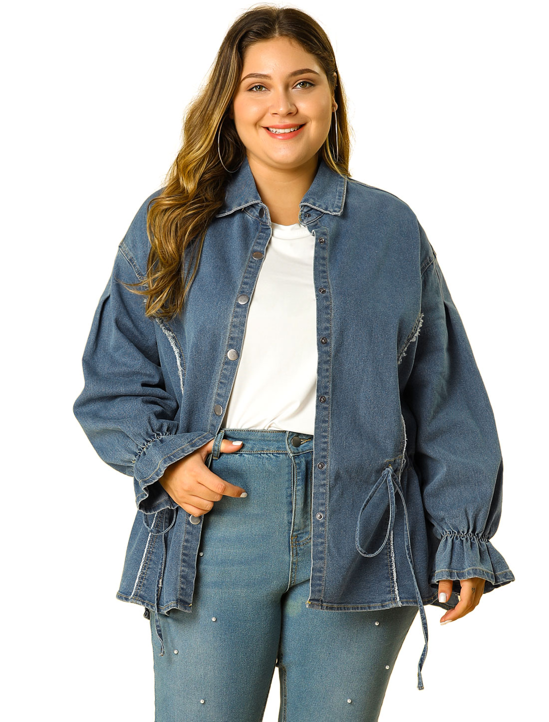 Women's Plus Size Long Sleeve Top Belted Chambray Denim Shirt Blue 1X