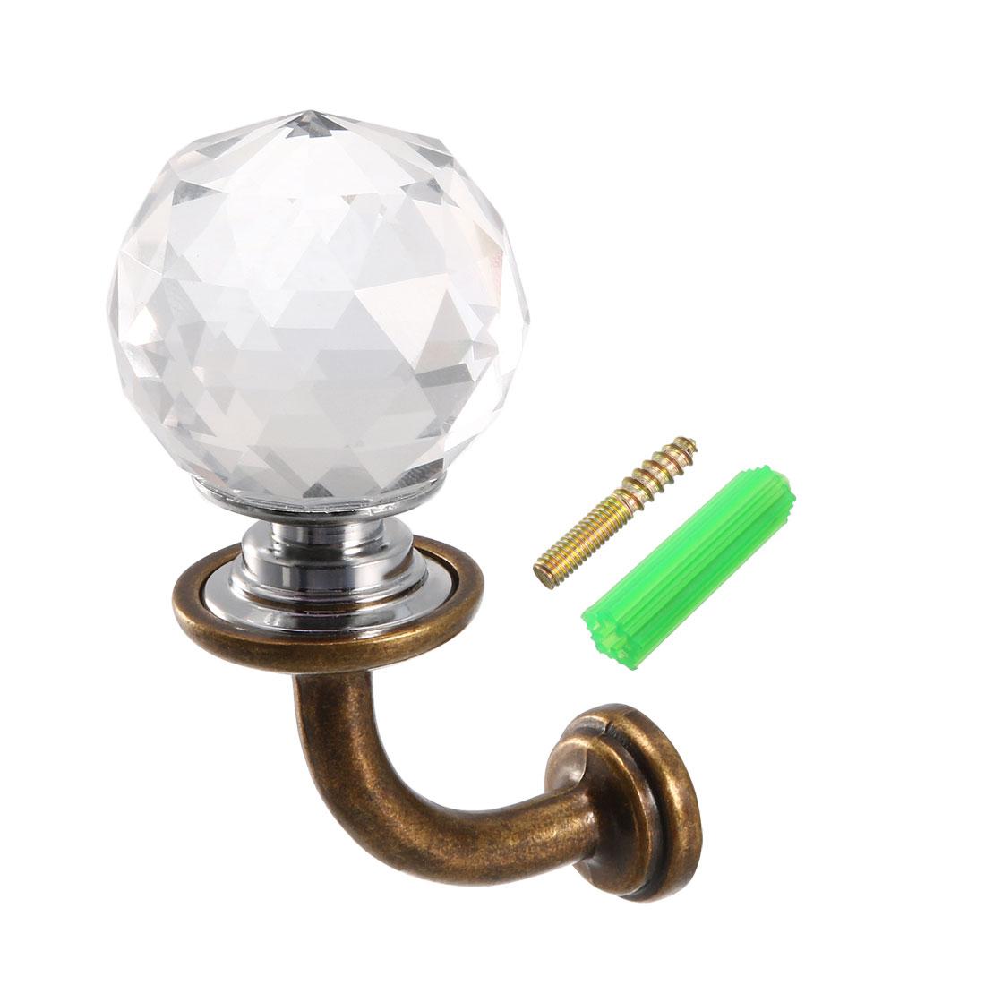 "Curtain Drapery Holdback,1.2"" Dia Glass Crystal Clear Hanger Bronze 4Pcs"