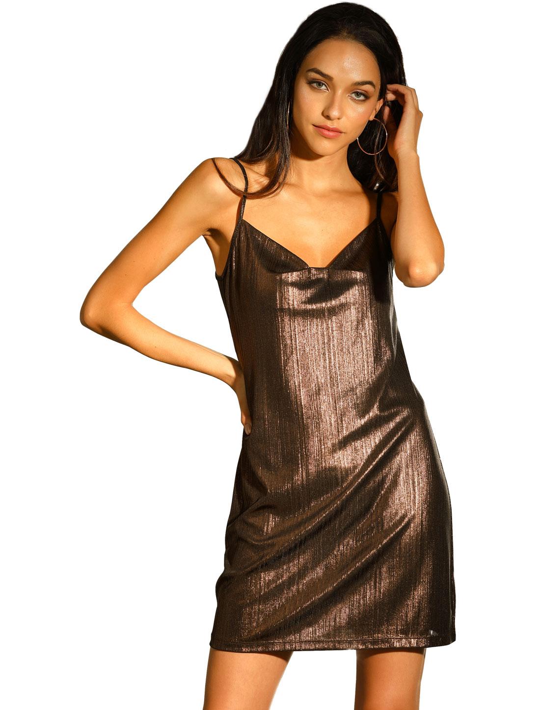 Allegra K Women's Sparkly Glitter Spaghetti Strap Party Dress Coffee Brown L