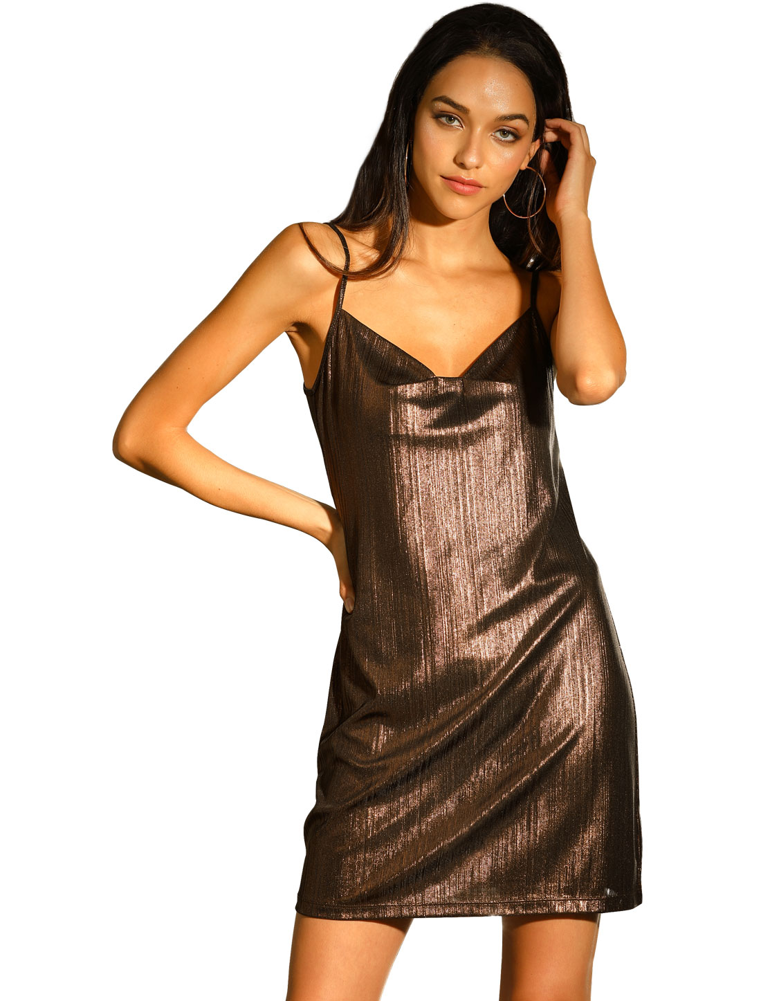 Allegra K Women's Sparkly Glitter Spaghetti Strap Party Dress Coffee Brown XL
