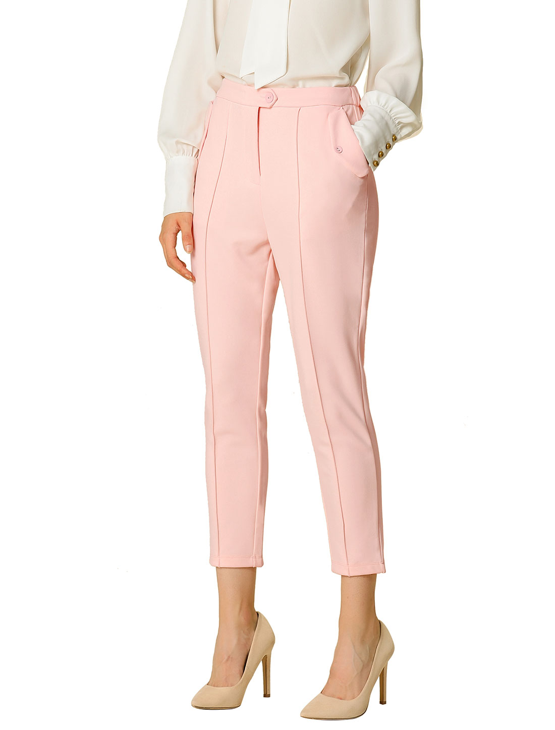 Allegra K Women's Work Pants Slim Stretchy Cropped Trousers Pink L