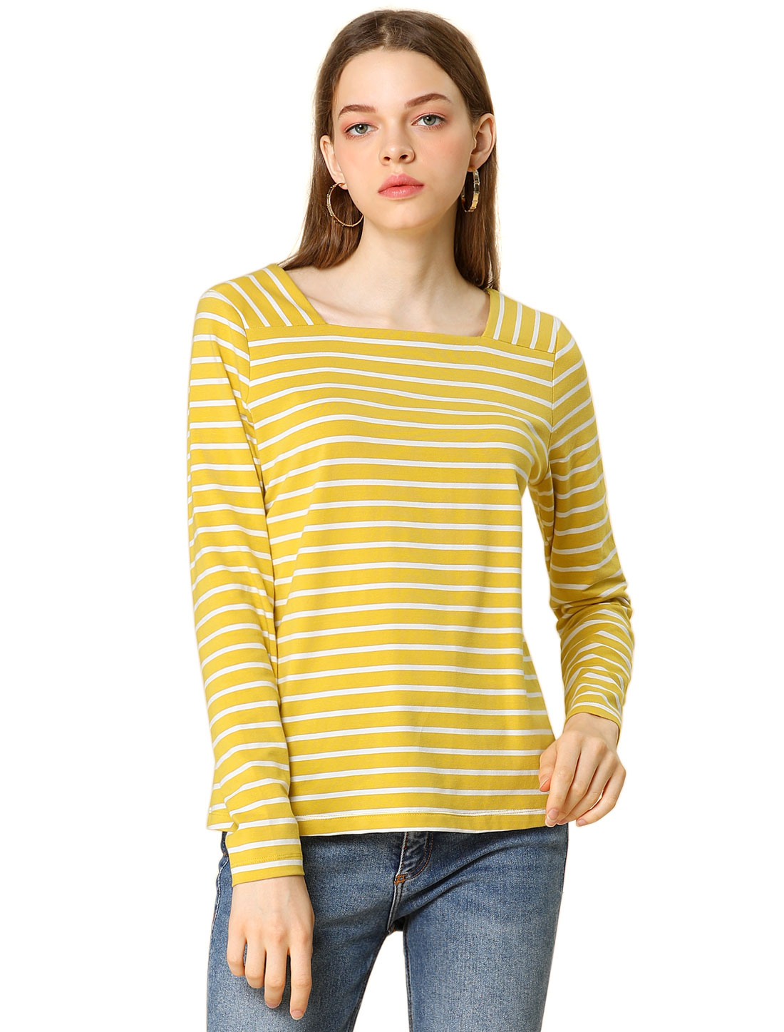 Allegra K Women's Long Sleeve Square Neck Striped T-Shirt Yellow L