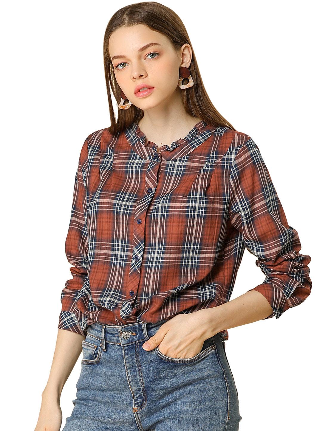 Allegra K Women's Fall Blouse Long Sleeve Ruffle Neck Plaid Shirt Red XS