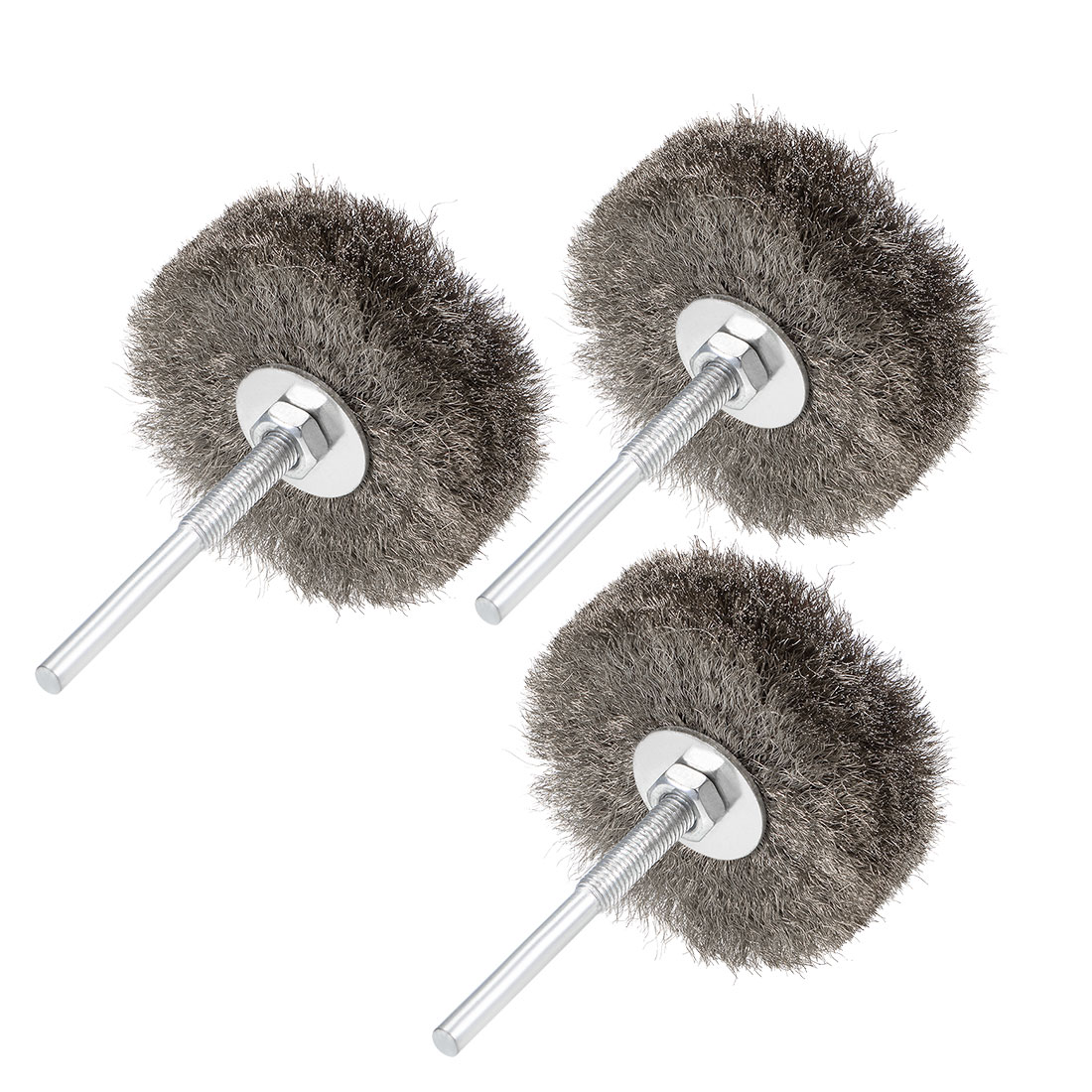 80mm Wire Wheel Brush Bench Stainless Steel Crimped Wire w 1/4-Inch Shank 3 Pcs