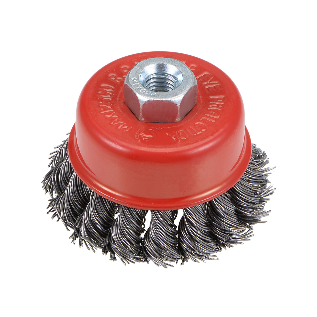 2-1/2-Inch Wire Cup Brush Twist Knotted Crimped Steel with M10 Threaded Hole