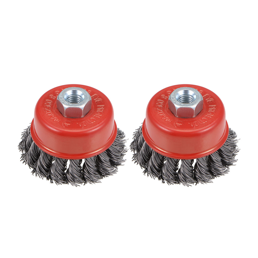 2-1/2-Inch Wire Cup Brush Twist Knotted Crimped Steel w M10 Threaded Hole 2 Pcs