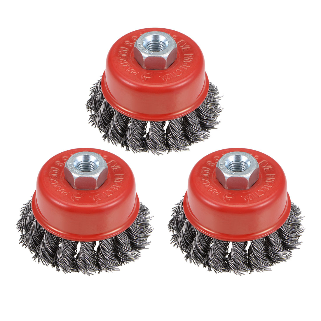2-1/2-Inch Wire Cup Brush Twist Knotted Crimped Steel w M10 Threaded Hole 3 Pcs