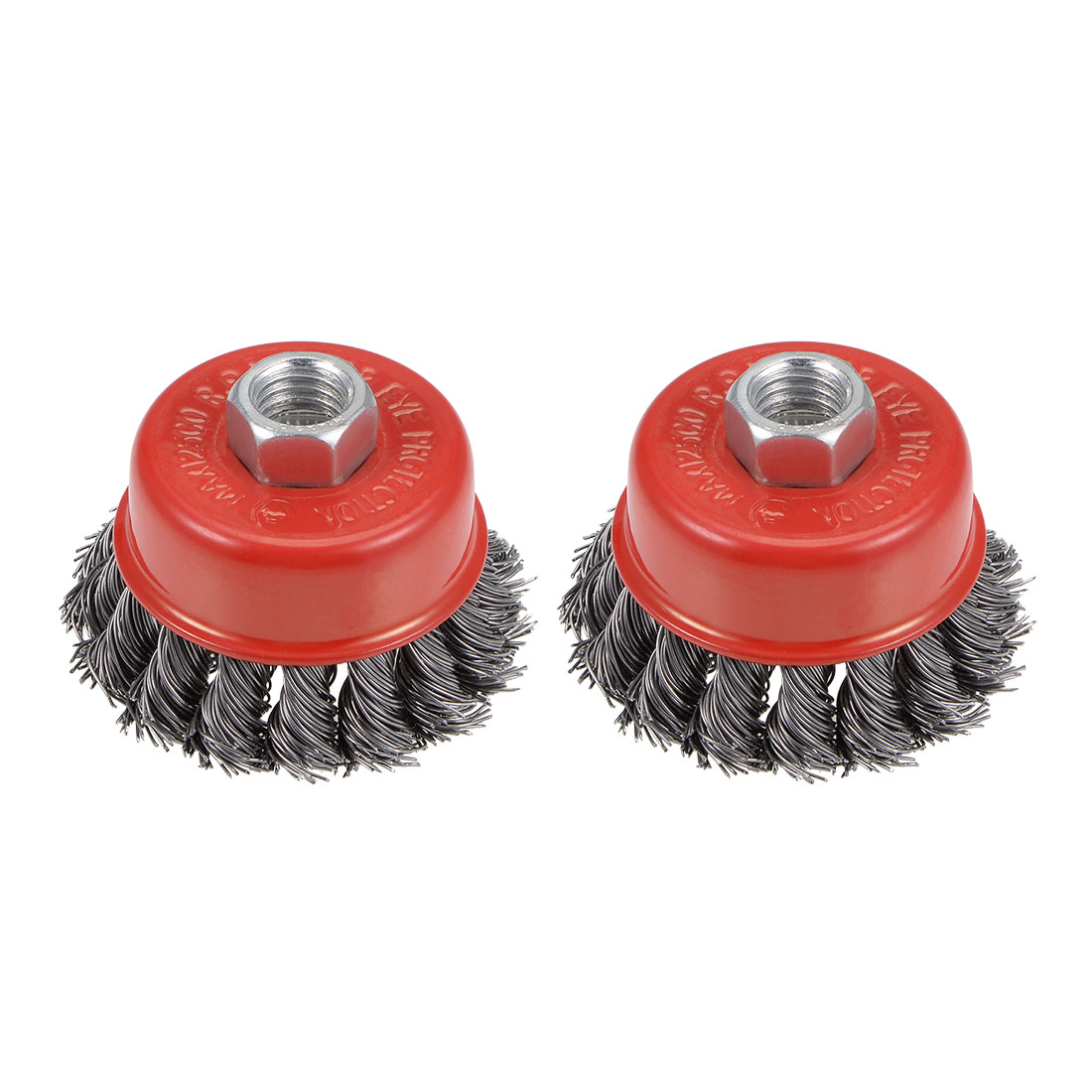 2-1/2-Inch Wire Cup Brush Twist Knotted Crimped Steel w M14 Threaded Hole 2 Pcs