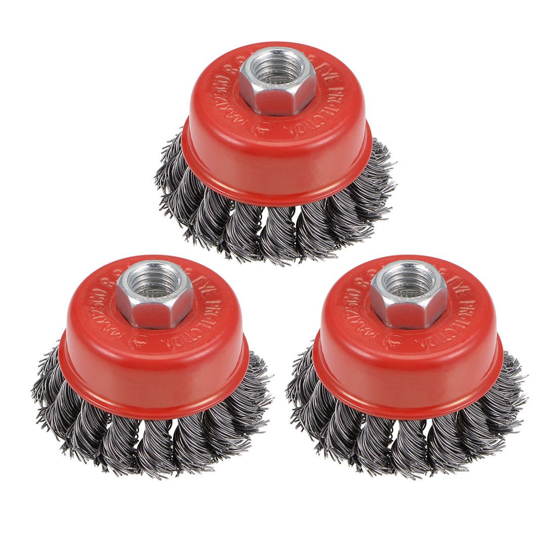 2-1/2-Inch Wire Cup Brush Twist Knotted Crimped Steel w M14 Threaded Hole 3 Pcs