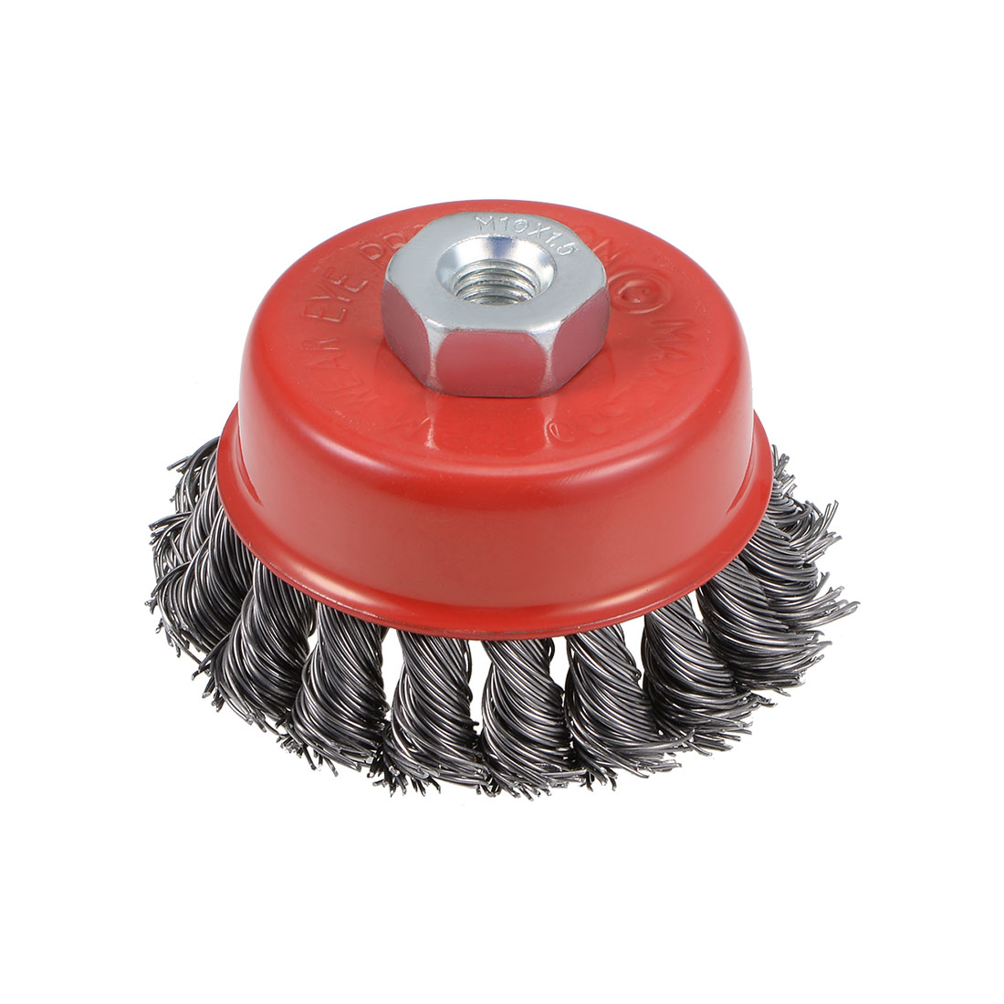 3-Inch Wire Cup Brush Twist Knotted Crimped Steel with M10 Threaded Hole
