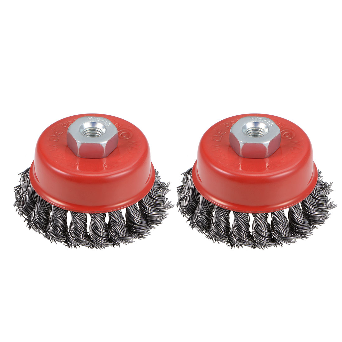3-Inch Wire Cup Brush Twist Knotted Crimped Steel with M10 Threaded Hole 2 Pcs