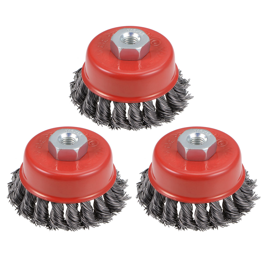 3-Inch Wire Cup Brush Twist Knotted Crimped Steel with M10 Threaded Hole 3 Pcs