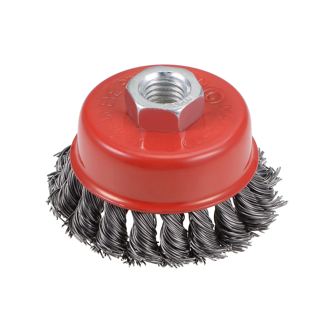 3-Inch Wire Cup Brush Twist Knotted Crimped Steel with Threaded Hole for Grinder