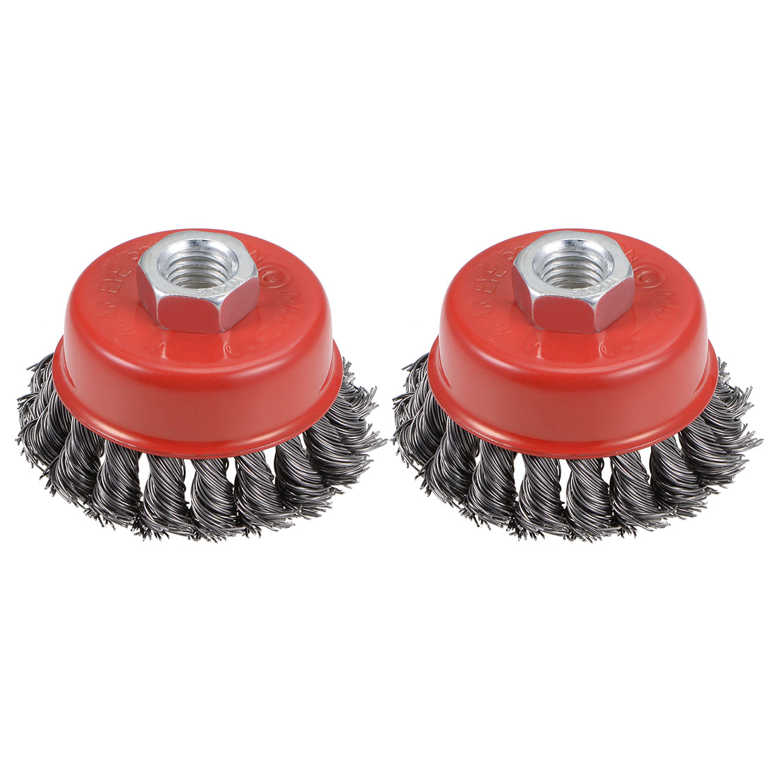 3-Inch Wire Cup Brush Twist Knotted Crimped Steel with Threaded Hole 2 Pcs