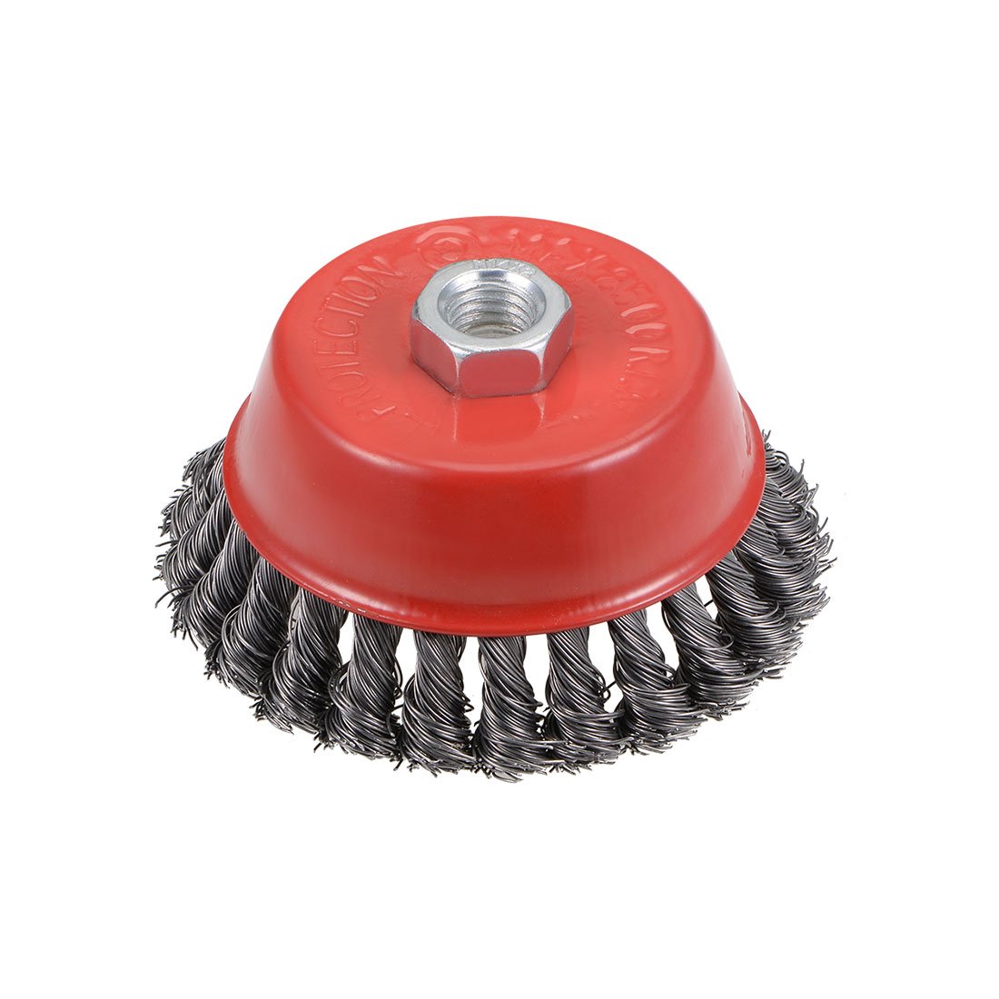 4-Inch Wire Cup Brush Twist Knotted Crimped Steel with M14 Threaded Hole