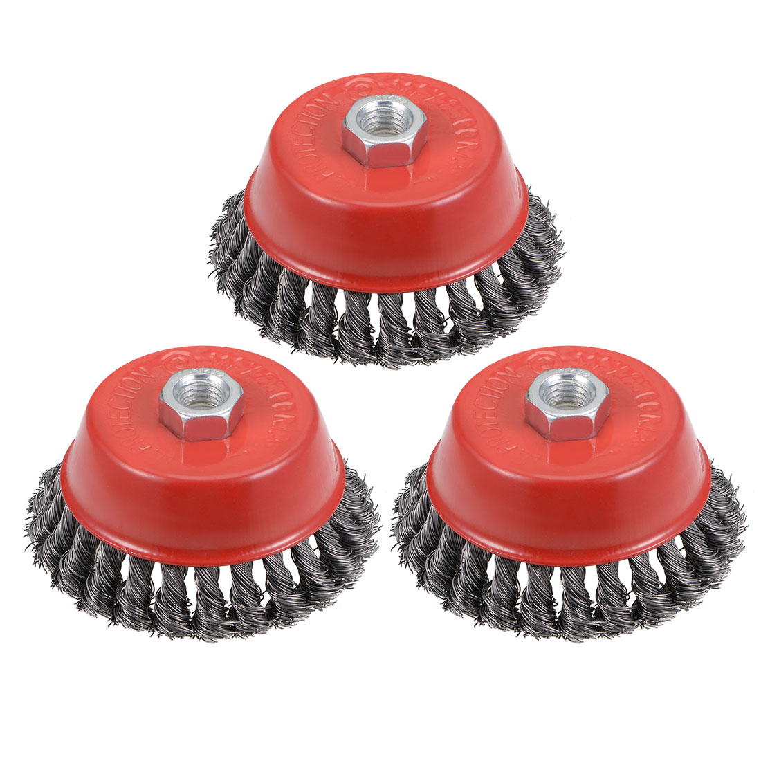 4-Inch Wire Cup Brush Twist Knotted Crimped Steel with M14 Threaded Hole 3 Pcs