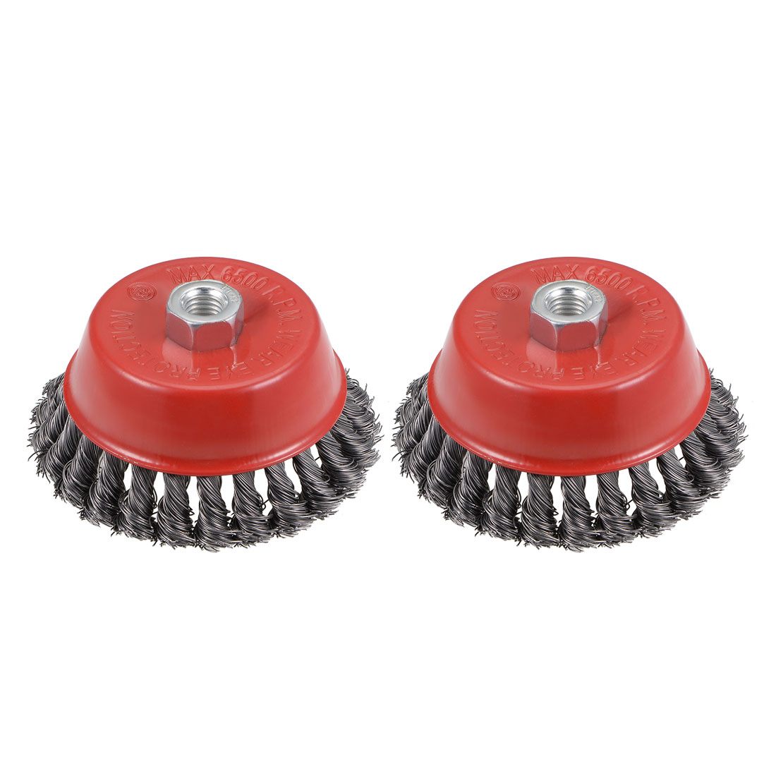 5-Inch Wire Cup Brush Twist Knotted Crimped Steel with M14 Threaded Hole 2 Pcs