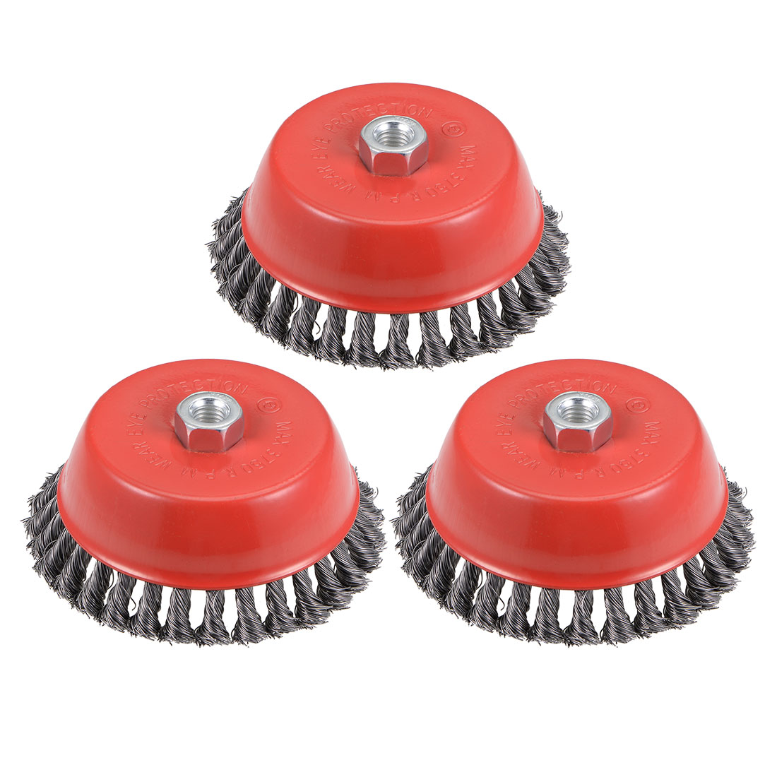 6-Inch Wire Cup Brush Twist Knotted Crimped Steel with M14 Threaded Hole 3 Pcs
