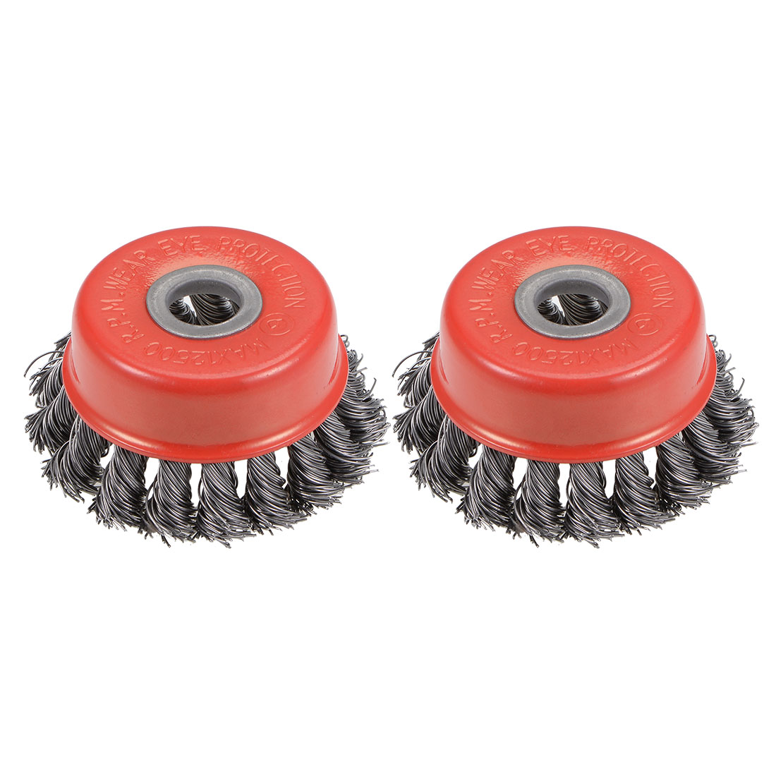 3-Inch Wire Cup Brush Twist Knotted Crimped Steel with 15mm Arbor Hole 2 Pcs