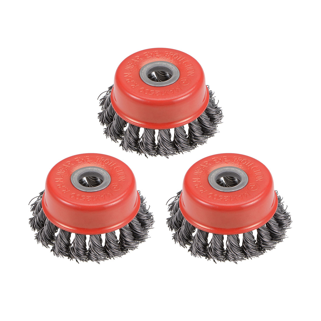 3-Inch Wire Cup Brush Twist Knotted Crimped Steel with 15mm Arbor Hole 3 Pcs