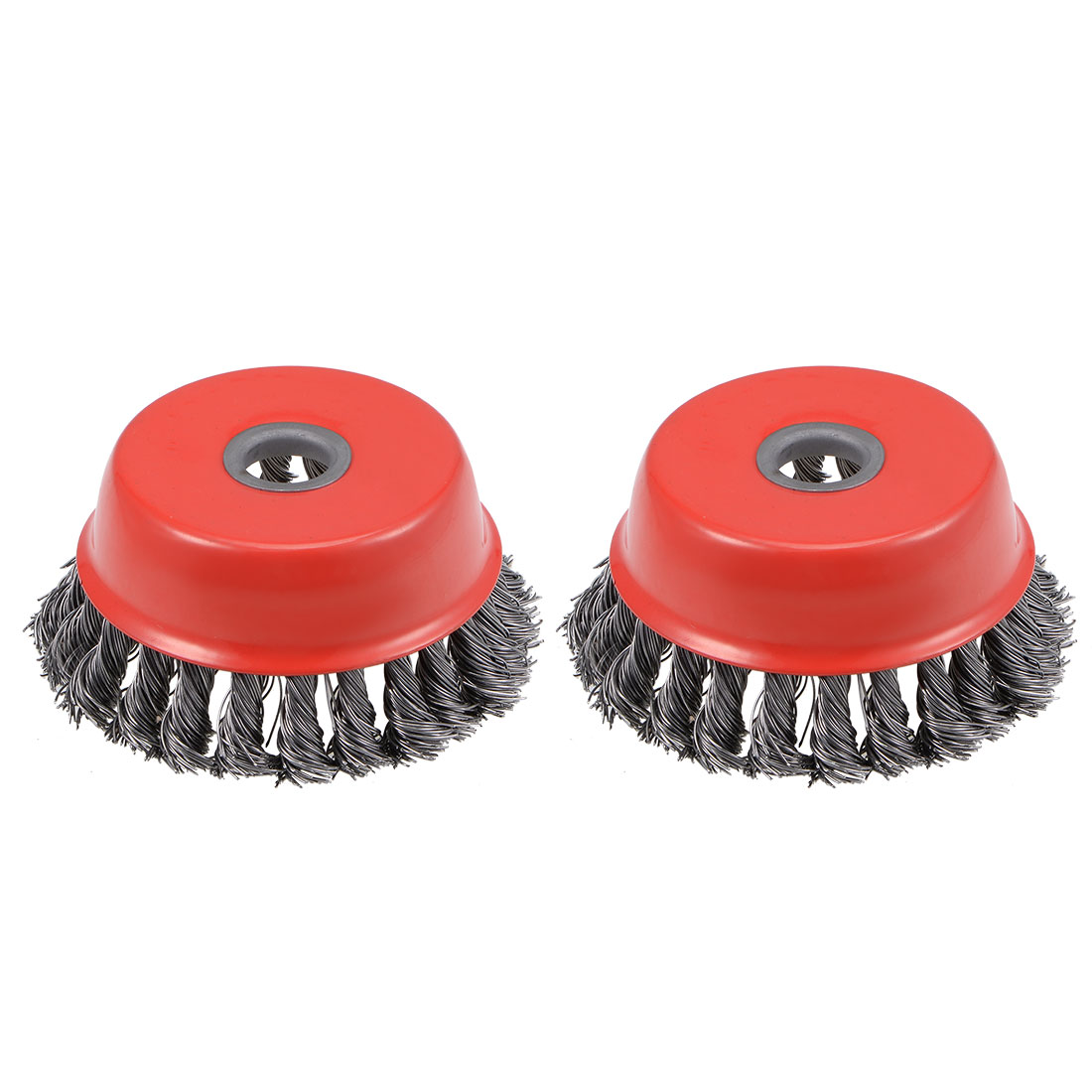4-Inch Wire Cup Brush Twist Knotted Crimped Steel with 5/8-Inch Arbor Hole 2 Pcs