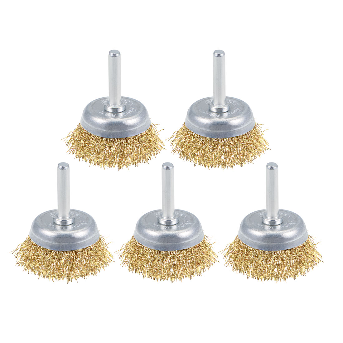 45mm Wire Cup Brush Brass Plated Crimped Steel with 1/4-inch Shank 5 Pcs