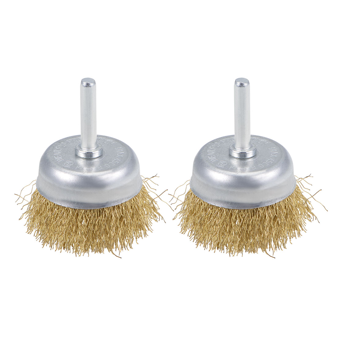 2-Inch Wire Cup Brush Brass Plated Crimped Steel with 1/4-inch Shank 2 Pcs