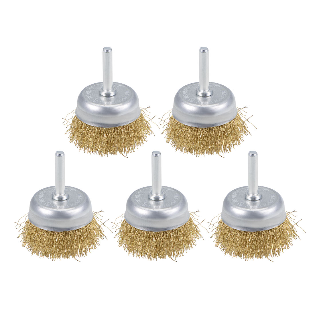 2-Inch Wire Cup Brush Brass Plated Crimped Steel with 1/4-inch Shank 5 Pcs