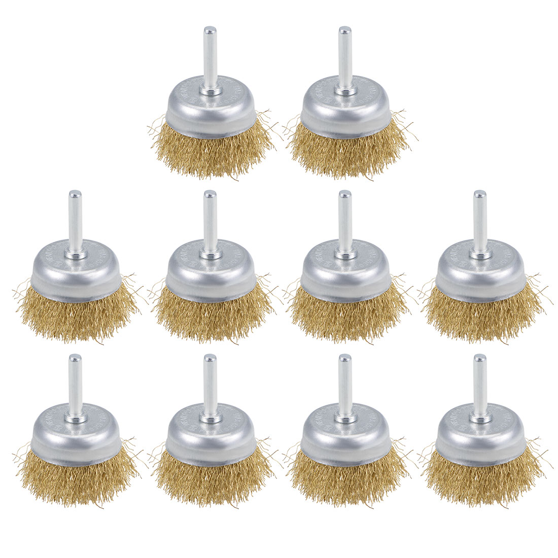 2-Inch Wire Cup Brush Brass Plated Crimped Steel with 1/4-inch Shank 10 Pcs