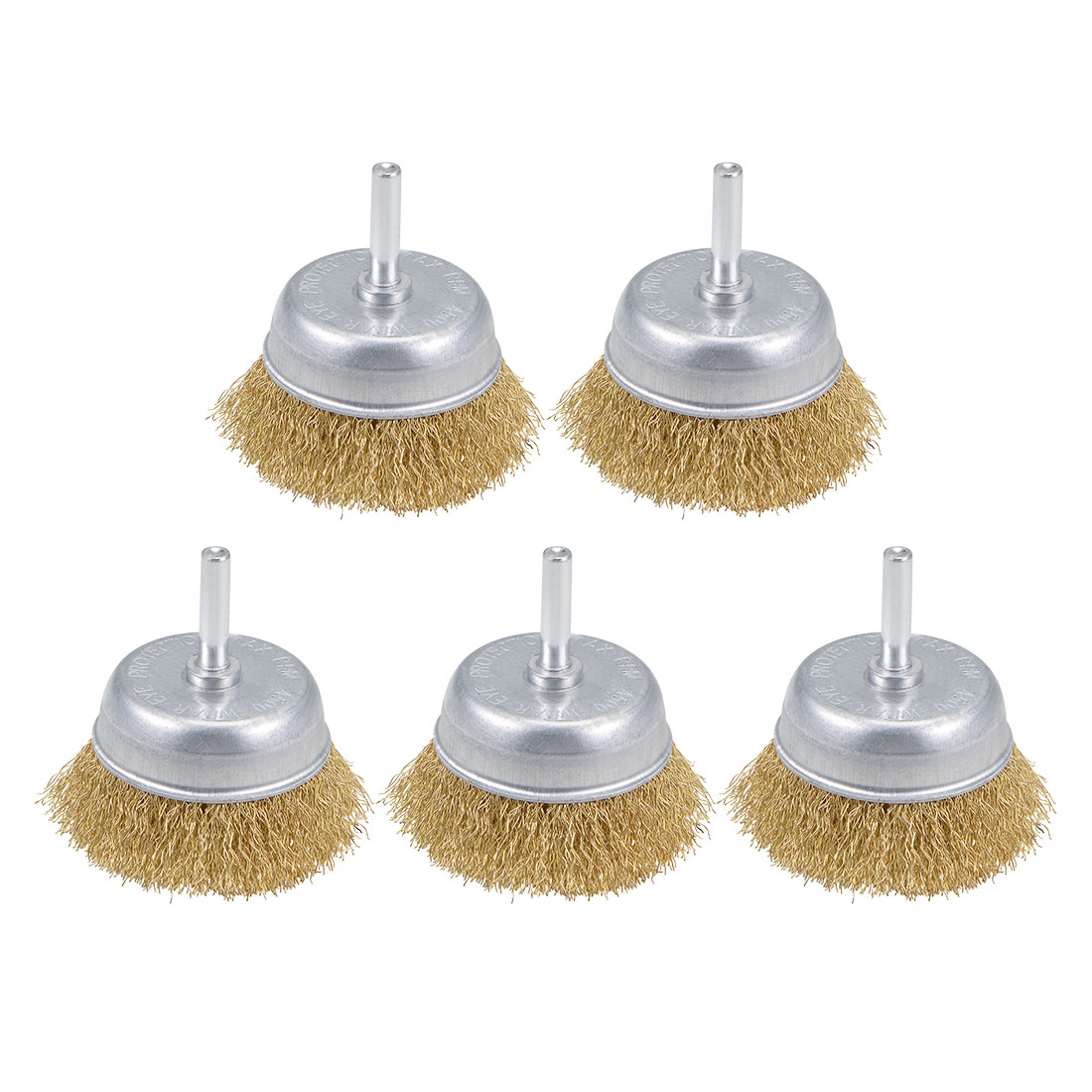 2-1/2-Inch Wire Cup Brush Brass Plated Crimped Steel with 1/4-inch Shank 5 Pcs