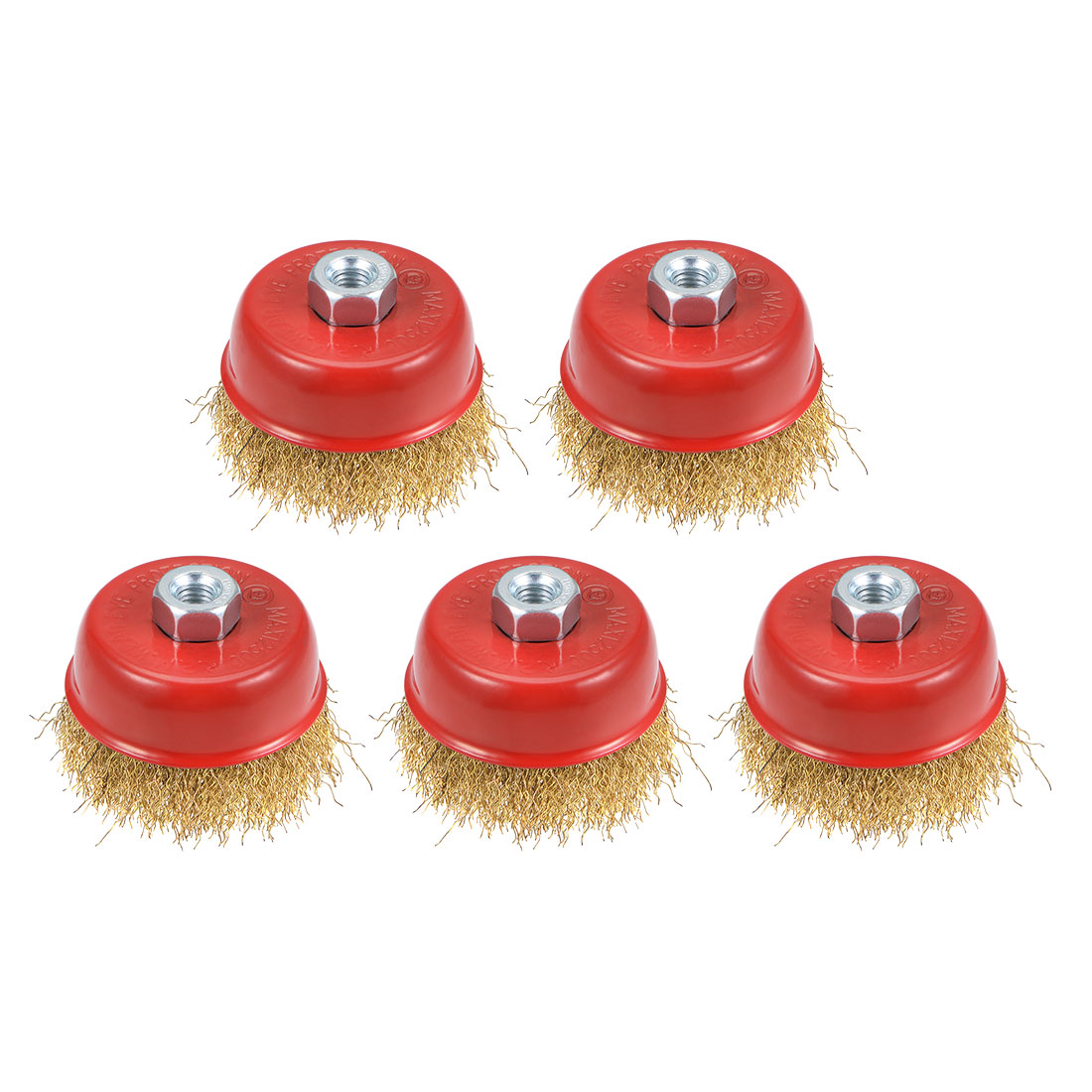 3-Inch Wire Cup Brush Brass Plated Crimped Steel with M10 Threaded Hole 5 Pcs