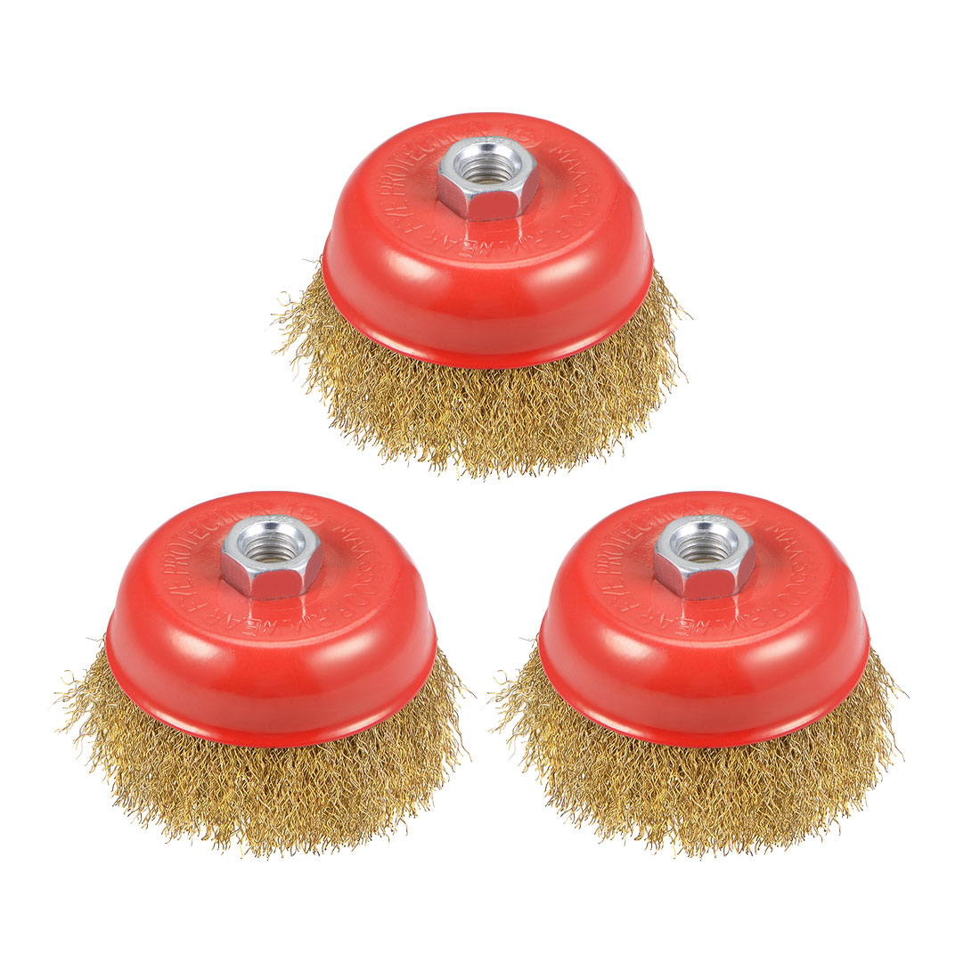 4-Inch Wire Cup Brush Brass Plated Crimped Steel with M14 Threaded Hole 3 Pcs