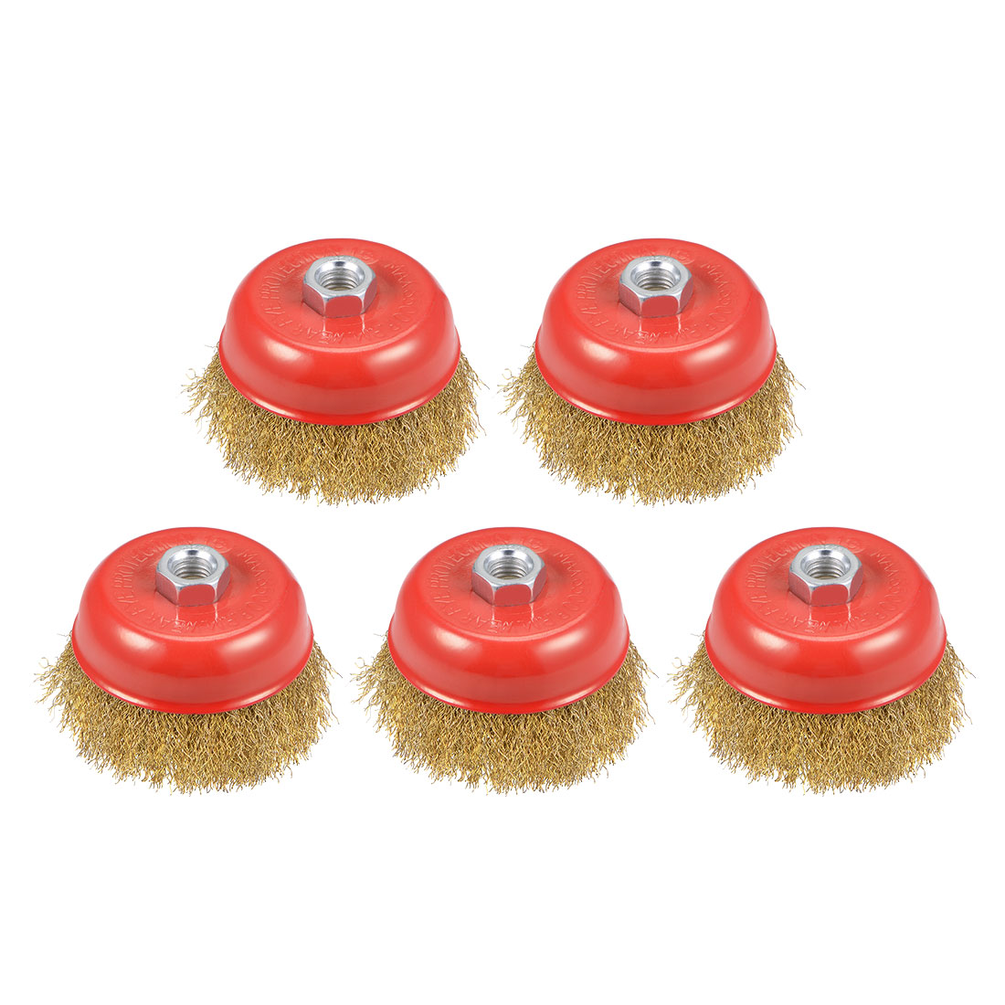 4-Inch Wire Cup Brush Brass Plated Crimped Steel with M14 Threaded Hole 5 Pcs