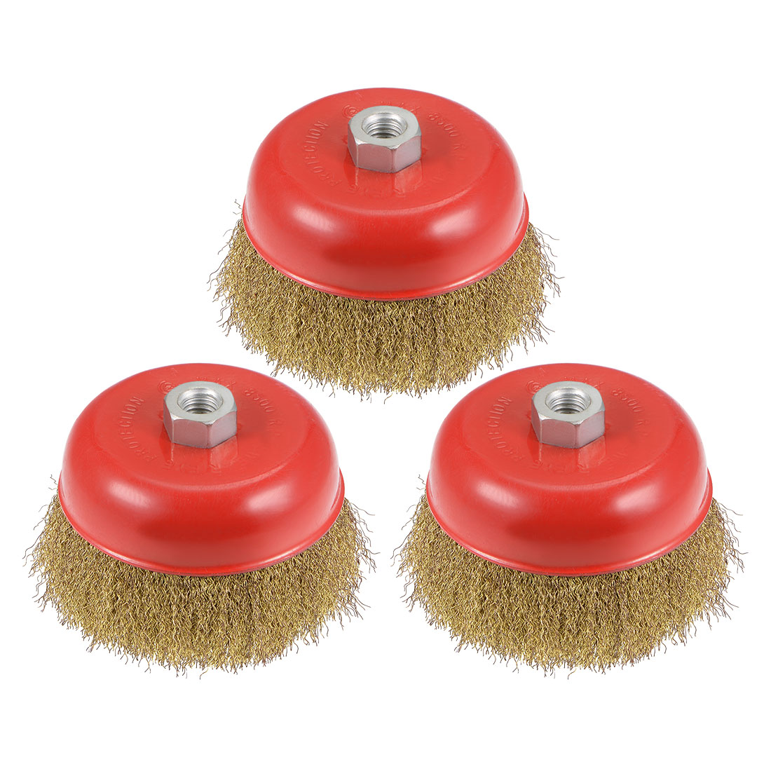 5-Inch Wire Cup Brush Brass Plated Crimped Steel with M14 Threaded Hole 3 Pcs
