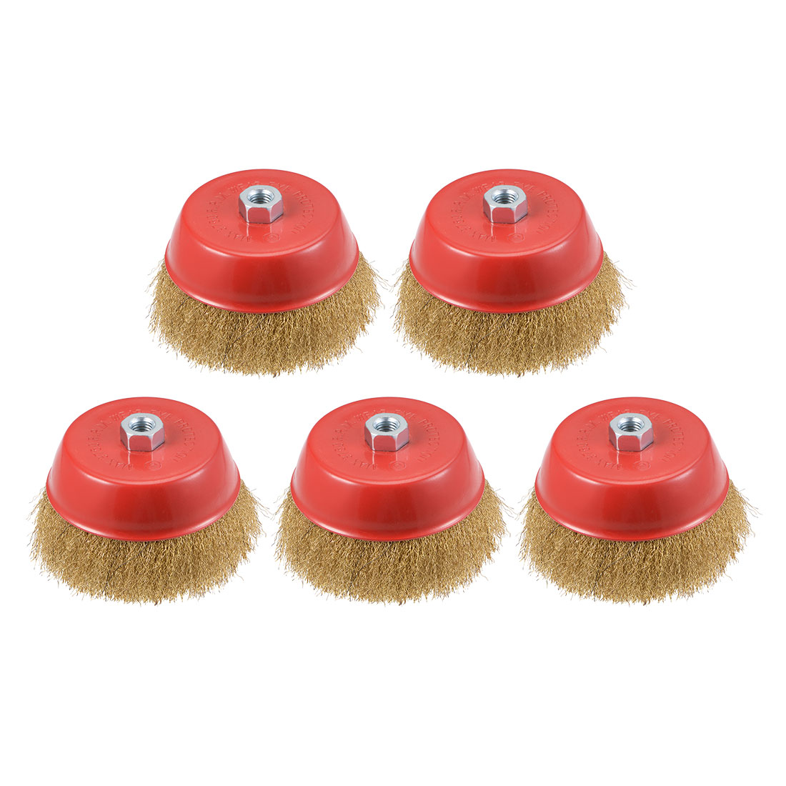 6-Inch Wire Cup Brush Brass Plated Crimped Steel with M14 Threaded Hole 5 Pcs