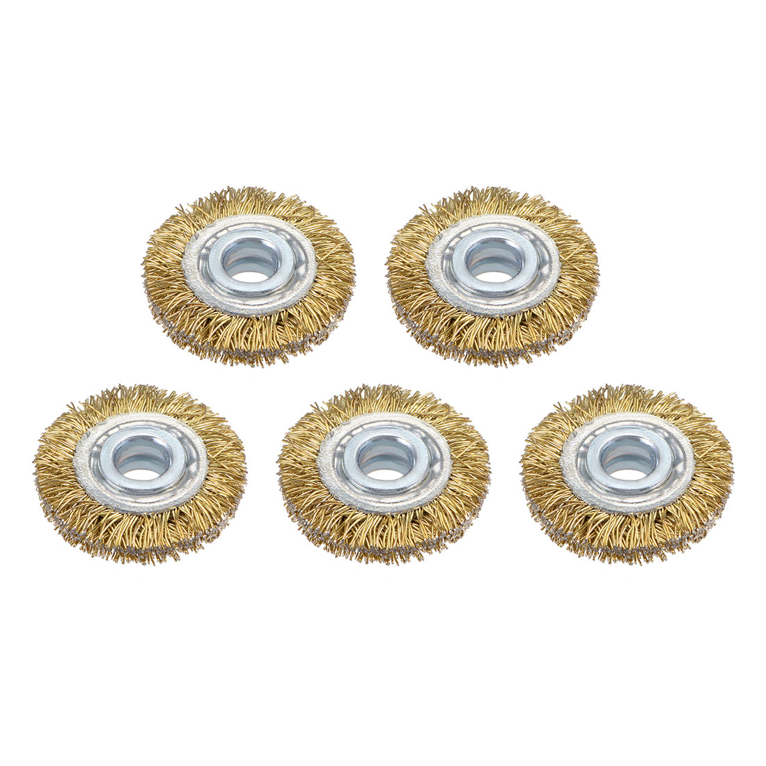 1-Inch Wire Wheel Brush Bench Brass Plated Crimped Steel w 1/4-Inch Arbor 5 Pcs