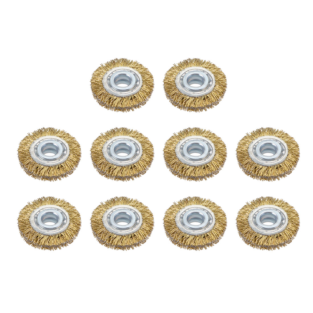 1-Inch Wire Wheel Brush Bench Brass Plated Crimped Steel w 1/4-Inch Arbor 10 Pcs
