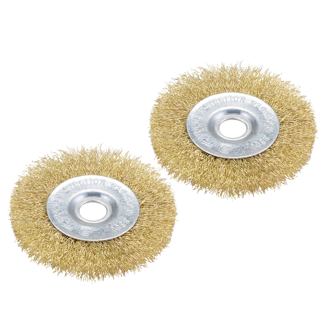 4-Inch Wire Wheel Brush Bench Brass Plated Crimped Steel w 5/8-Inch Arbor 2pcs