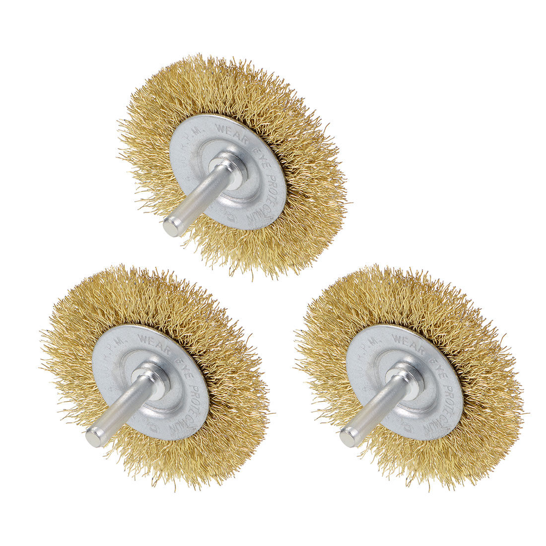 2-1/2 Inch Wire Wheel Brush Bench Brass Plated Crimped Steel 1/4-Inch Shank 3pcs