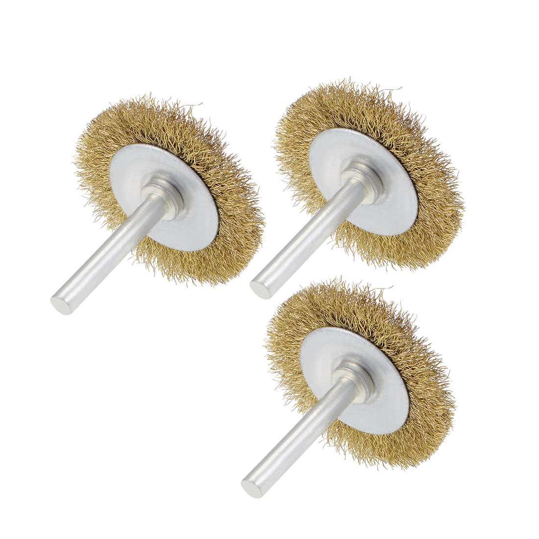2-Inch Wire Wheel Brush Bench Brass Plated Crimped Steel w 1/4-Inch Shank 3 Pcs