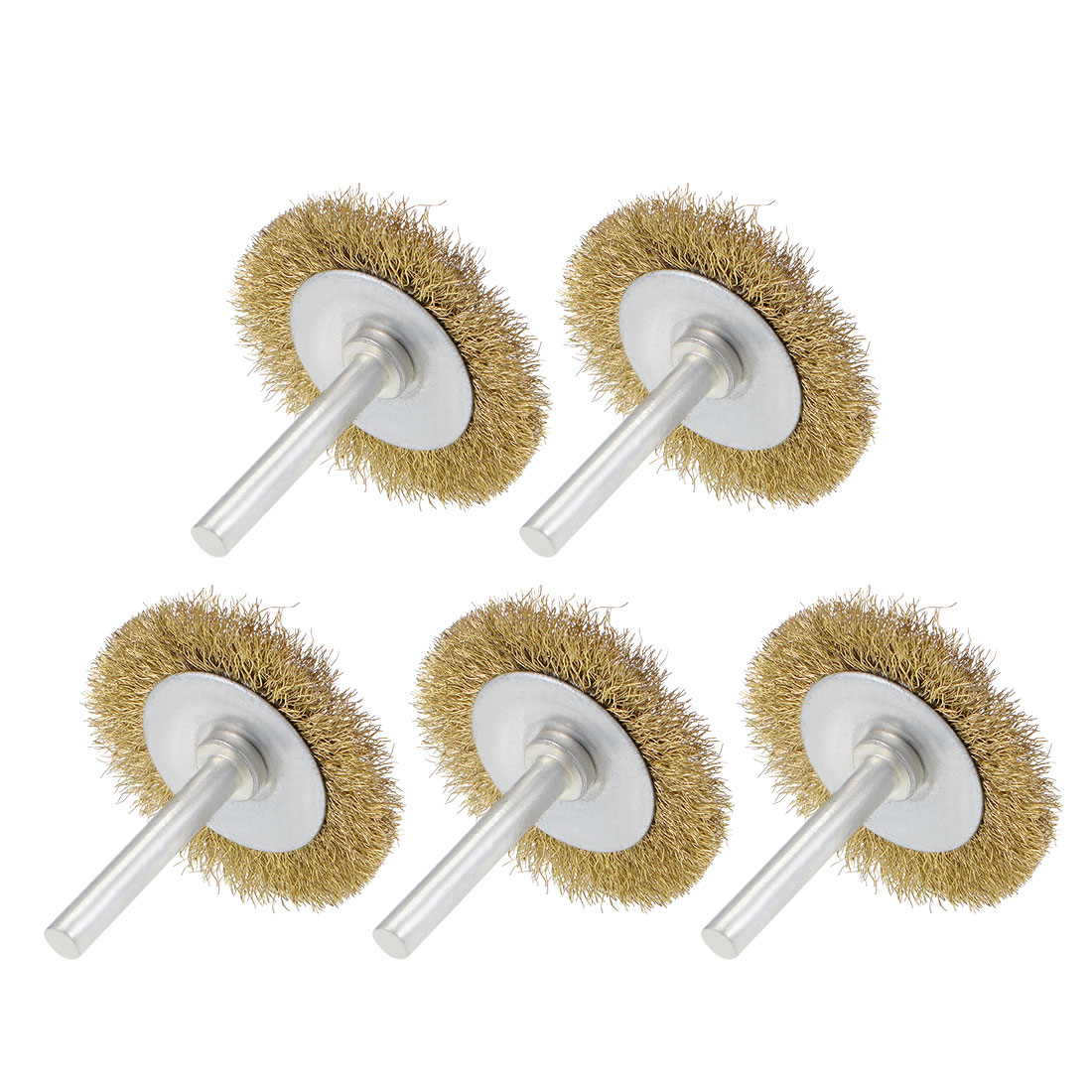 2-Inch Wire Wheel Brush Bench Brass Plated Crimped Steel w 1/4-Inch Shank 5 Pcs