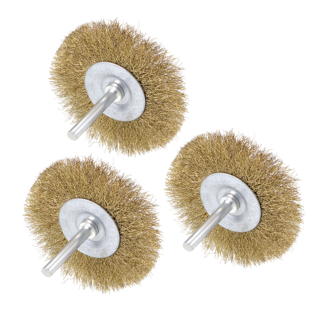 3-Inch Wire Wheel Brush Bench Brass Plated Crimped Steel 1/4-Inch Shank 3 Pcs