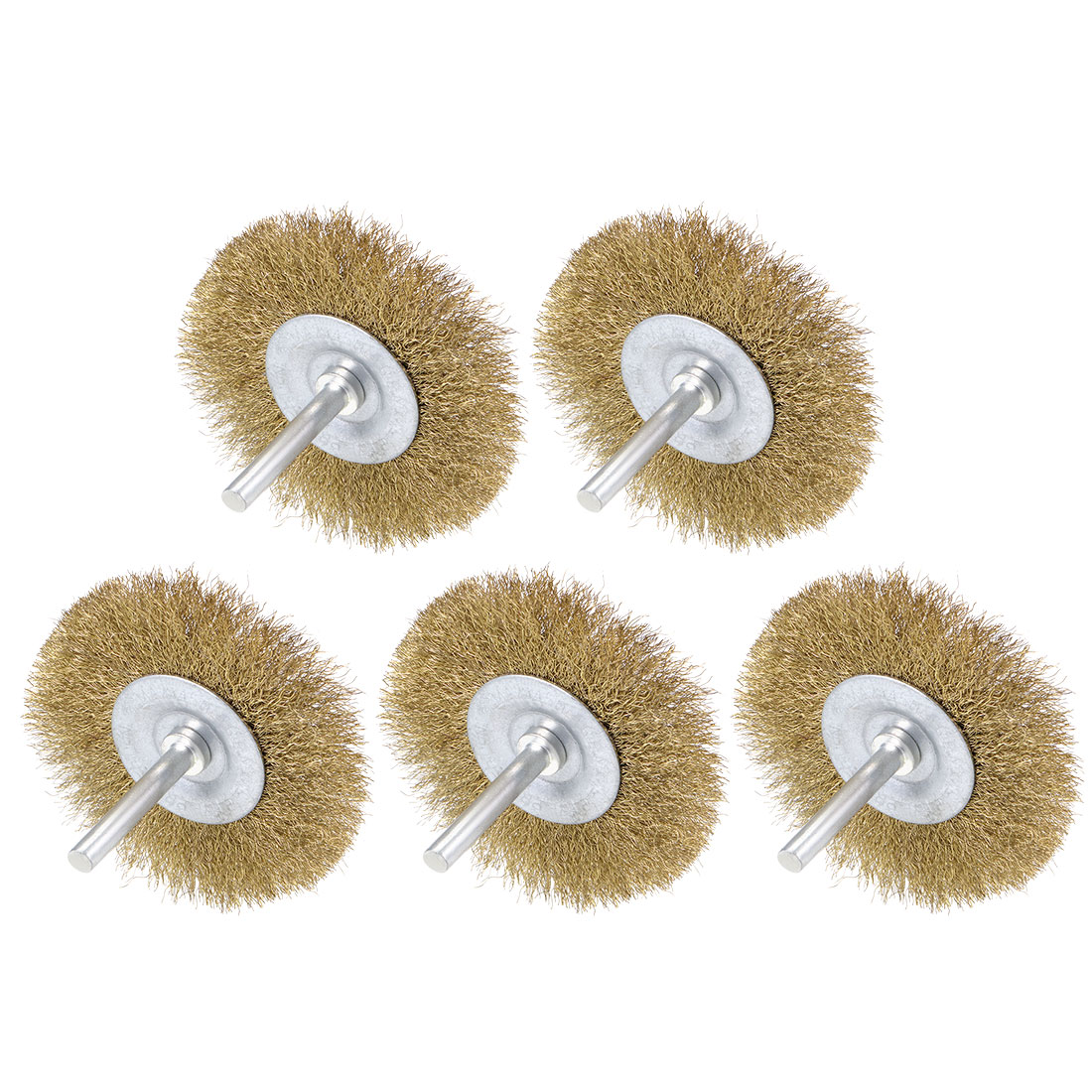 3-Inch Wire Wheel Brush Bench Brass Plated Crimped Steel 1/4-Inch Shank 5 Pcs