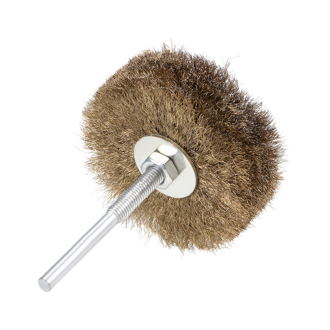 80mm Wire Wheel Brush Bench Brass Plated Crimped Steel Wire 1/4 Inch Shank