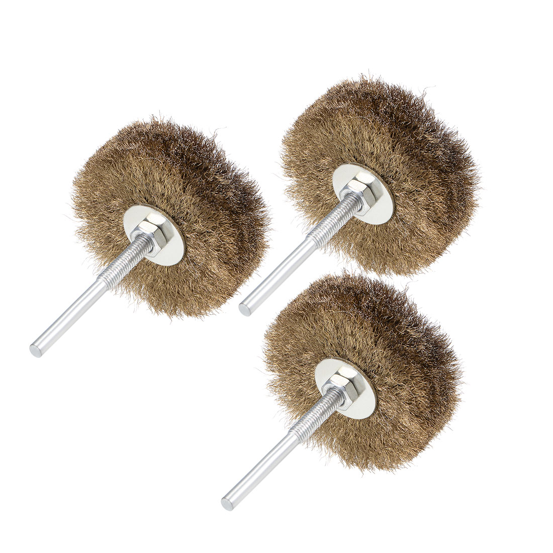 80mm Wire Wheel Brush Bench Brass Plated Crimped Steel w 1/4-Inch Shank 3 Pcs