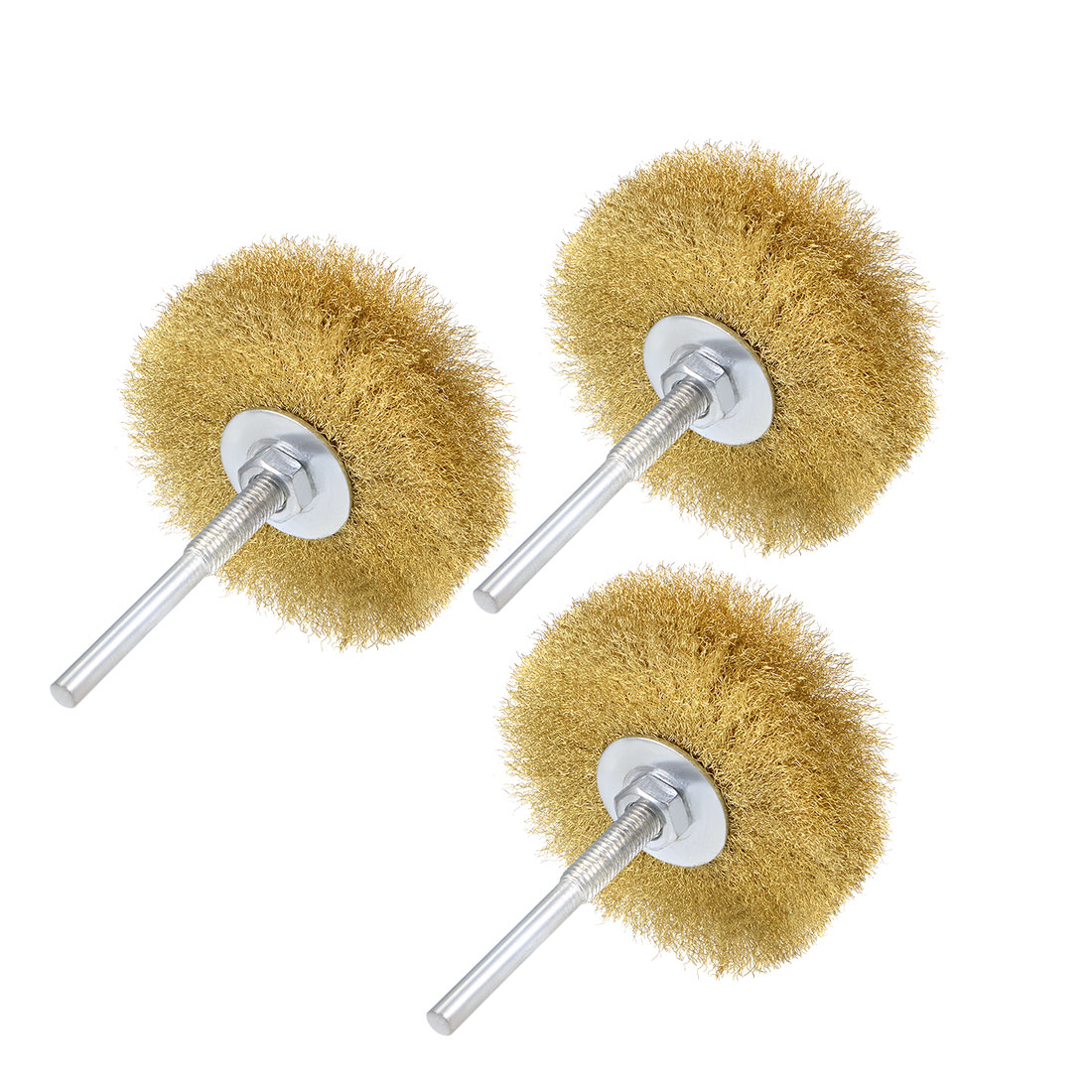 80mm Wire Wheel Brush Bench Brass Plated Crimped Steel 1/4 Inch Shank 3pcs